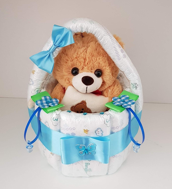 Windeltorte, Korb aus Windeln blau, Geburt, Taufe, Geschenk fü r Jungen, Baby Party, Pampers Gr.3, Kuscheltier-Bä r