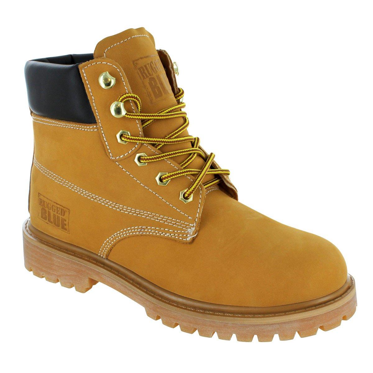 Rugged Blue MS001 Nubuck Leather Steel Toe Waterproof Mens Work Boot, Size 9M, Tan