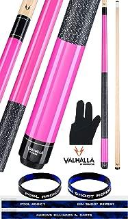 product image for Valhalla by Viking 2 Piece Pool Cue Stick Pink VA116 Irish Linen Wrap 18-21 oz. Plus Billiard Glove & Bracelet