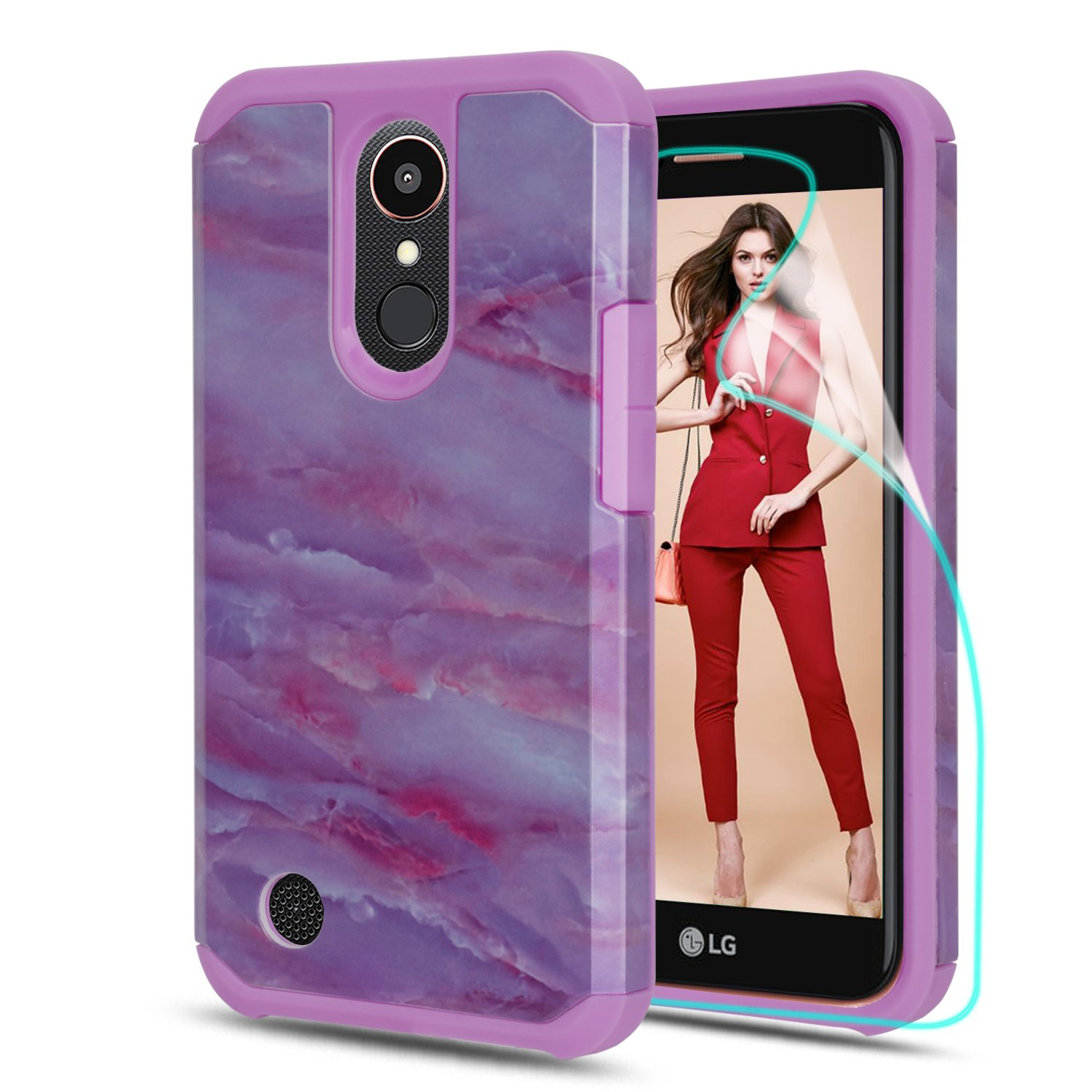 LG K20 V Case, LG K20 Plus / LG Harmony / LG K10 2017 / LG Grace Case With HD Phone Screen Protector,Marble Pattern Shock Absorption Hybrid Dual Layer Armor Protective Cover for LG LV5-DLS Purple
