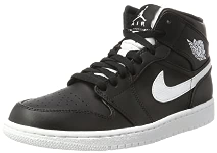 wholesale dealer acb43 f685a Nike Men s Air Jordan 1 Mid Basketball Shoe Cool Black White-White 10.5