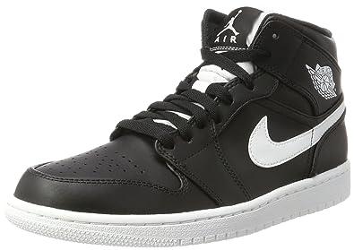 Nike Jordan Herren Air Jordan 1 Mid Basketball Schuhe Weiß