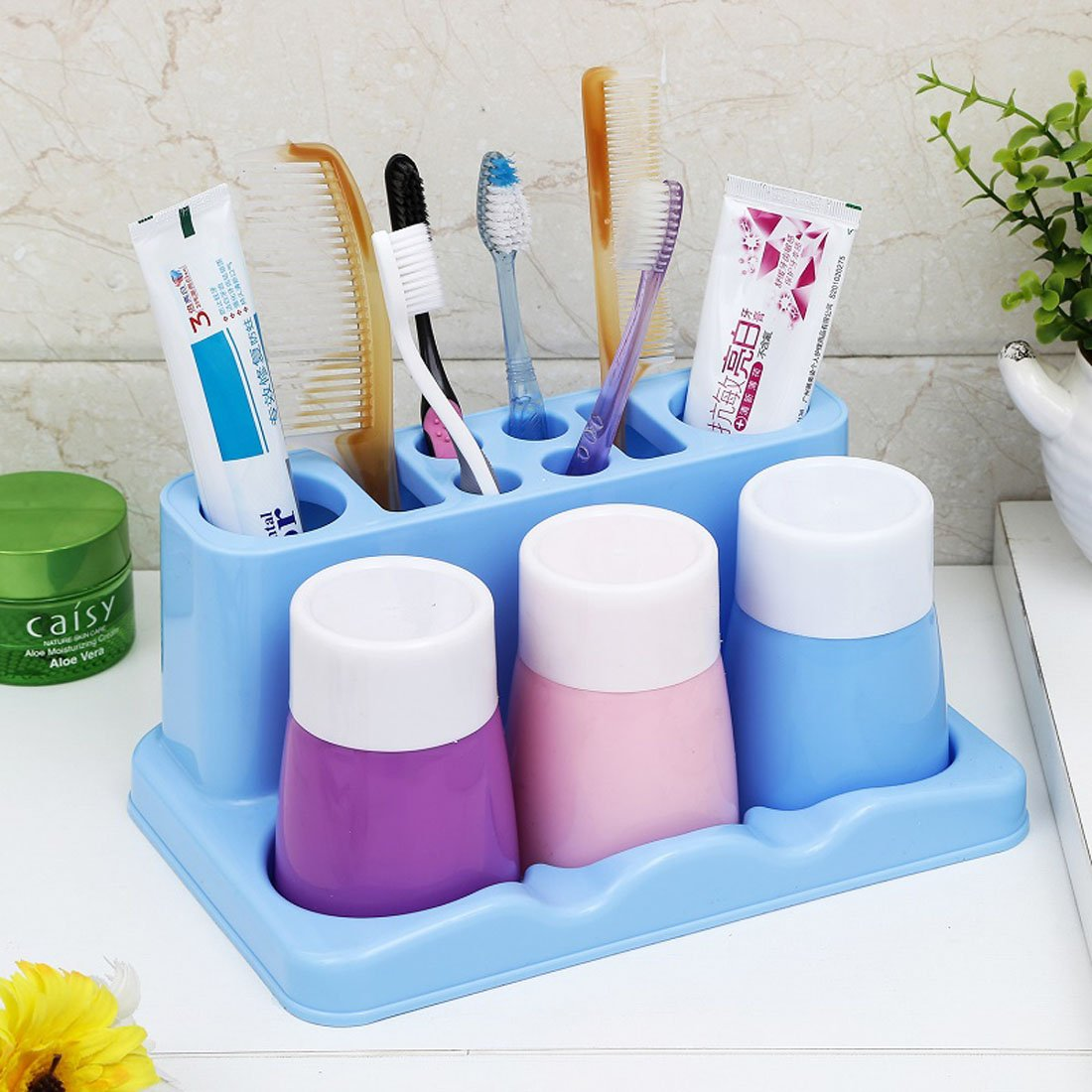 YIUHART Simple Toothbrush Holders for Bathroom Storage (Blue)