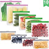 GLAMFIELDS Reusable food Storage Bags - 10 Pack Leakproof Freezer BPA FREE Bag(2 Reusable Gallon Bags + 4 Reusable Sandwich Bags + 4 Reusable Snack Bags) (2 Gallon 4 Sanswich 4 snack)