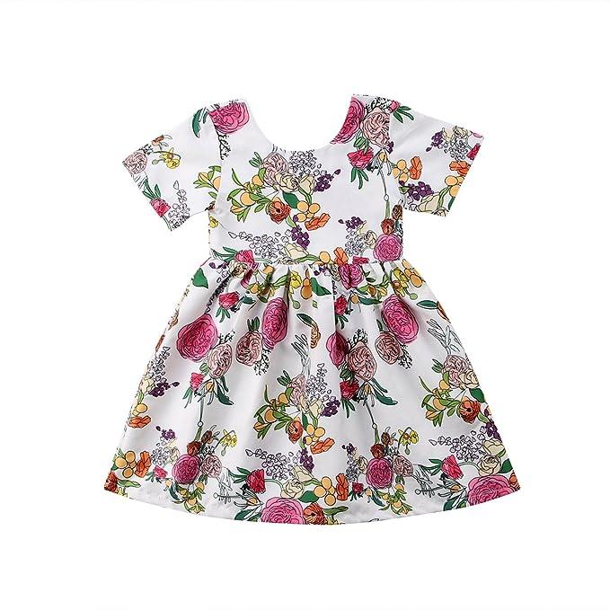 Amazon.com: Bebé niñas vestido vestido de niña de flores ...