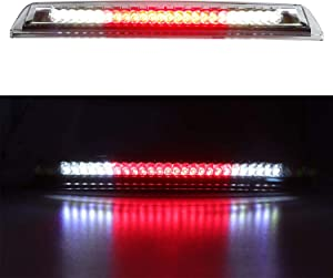 For 2004-2015 Nissan Titan, 2005-2016 Nissan Frontier LED 3rd Brake Light Cargo Light Assembly, Rear Roof Center High Mount Stop Light Replacement 26590-EA800 (Chrome Housing Clear Lens)