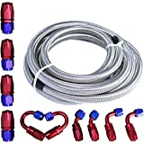 Universal Oil Fuel Line Hose 20Ft AN-6 Stainless Steel Braided w/10PC Swivel Fitting Hose Ends Adapter Kit,Blue & Red