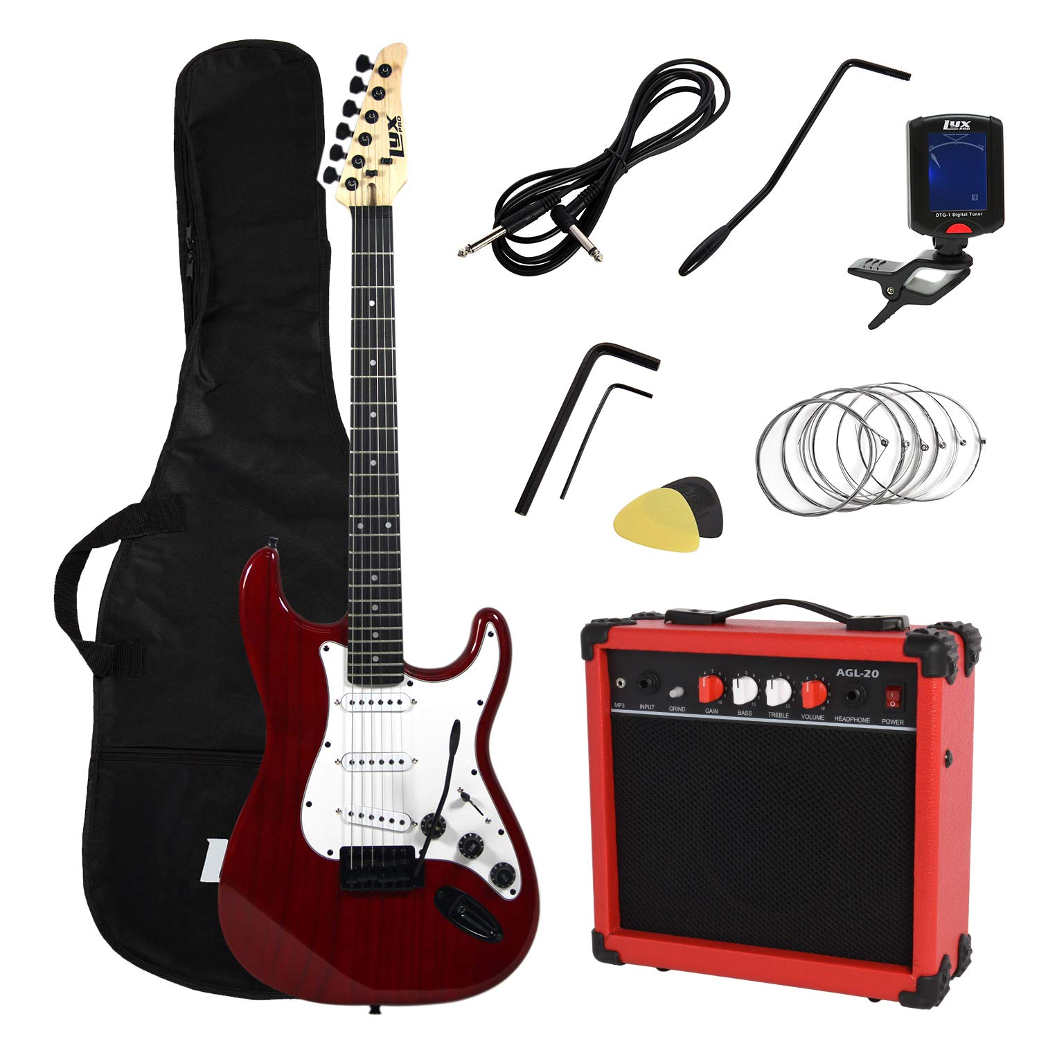 LyxPro 39'' inch Electric Guitar with 20w Amp, Package Includes All Accessories, Digital Tuner, Strings, Picks, Tremolo Bar, Shoulder Strap, and Case Bag Complete Beginner Starter kit Pack Full Size