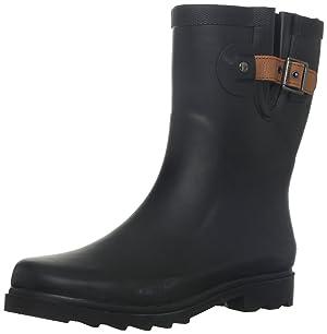 Chooka Women's Top Solid Mid Rain Boots Rain Boot, Black-Matte, 8 M US
