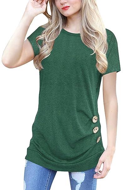 Amazon.com: Camisetas para Mujer Casual Manga Corta Túnica ...