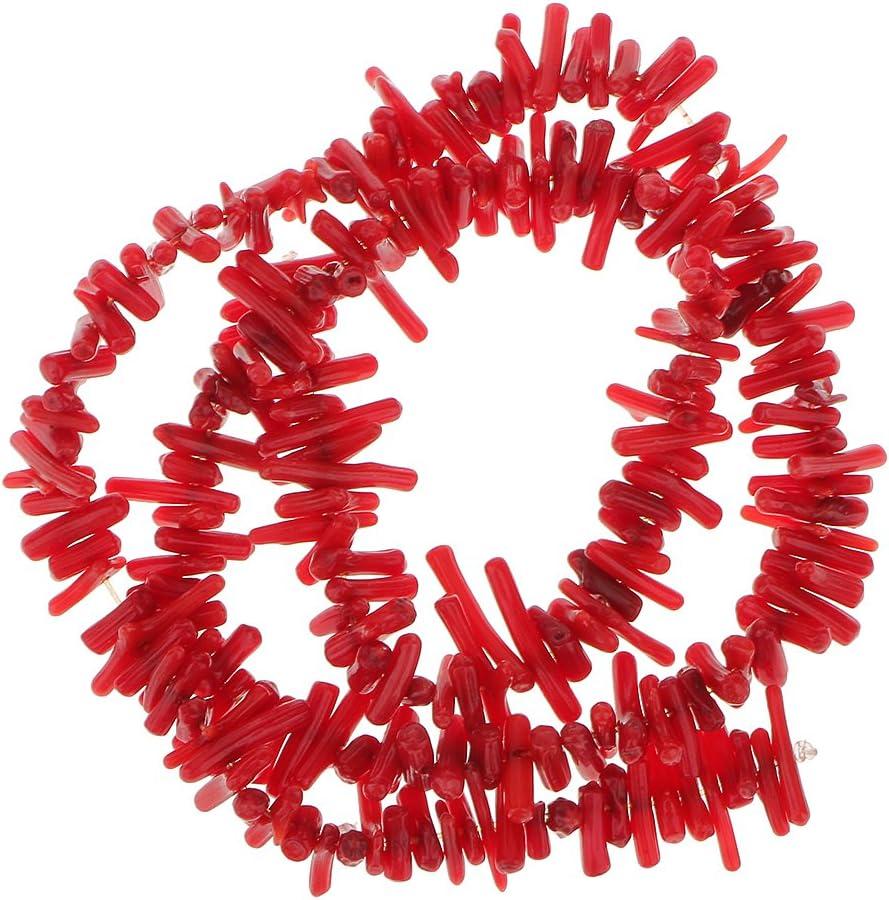 yotijar Hilo de Cuentas Sueltas de Rama de Coral de Bambú Rojo Oscuro de 16