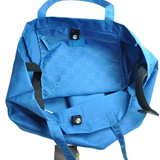 6e7406dd4c4 Amazon.com   Gucci Mama s Bag 281487 Turquoise Blue Nylon Gg Logo Tote Bag    Baby