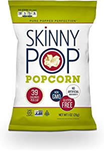 SkinnyPop Original Popped Popcorn, 12-Pack of 1.0oz Individual Bags, Gluten Free Popcorn, Non-GMO and Vegan Snack, No Artificial Ingredients