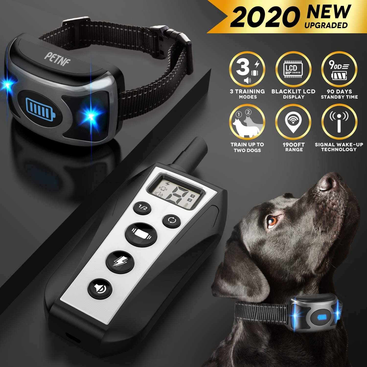 2020 Upgraded Shock Collar for Dogs,Dog Training Collar,Shock Collar with Remote and Signal Wake-up Technology,3 Training Modes,Beep,Vibration,Shock,Rechargeable Waterproof for Small,Medium,Large dog