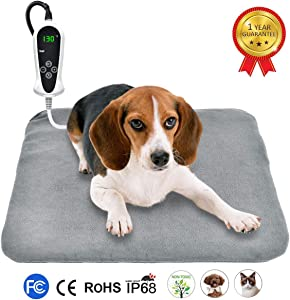 "RIOGOO Pet Heating Pad, Upgraded Electric Dog Cat Heating Pad Indoor Waterproof, Auto Power Off 18"" x 18"" Grey"