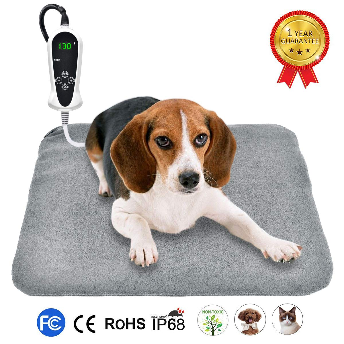 RIOGOO Pet Heating Pad, Upgraded Electric Dog Cat Heating Pad Indoor Waterproof, Auto Power Off 18'' x 18'' Grey by RIOGOO
