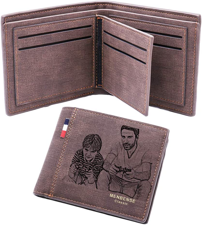 Cartera Personalizada para Hombre, Imágenes Personalizadas Y Billetera De Cuero para Hombre con Texto, (Marron Oscuro Doble Cara)