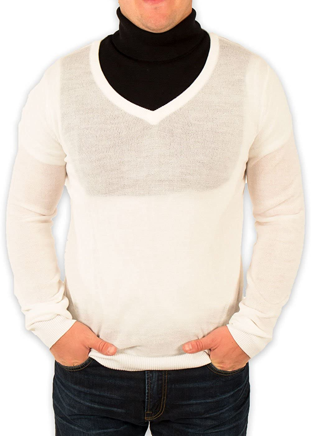 Men's Redneck Cousin V-Neck White Sweater with Black Dickey