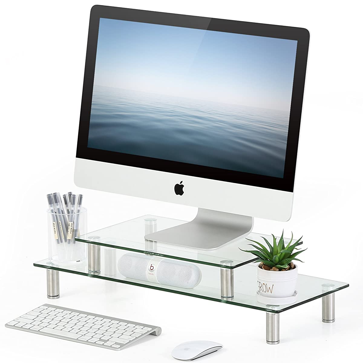 FITUEYES Clear Tempered Glass Computer Monitor Riser with Height Adjustable Multi Media Desktop Stand for Flat Screen LCD LED TV, Laptop/Notebook/Xbox,DT206002GC