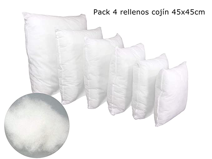 ForenTex Pack 4 Relleno Cojines 45x45 cm Fibra Mullido Antialérgico, Blanco, 4