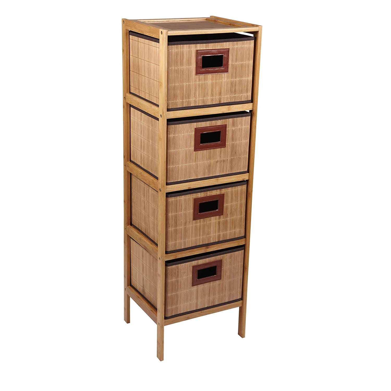 Beau Amazon.com: Household Essentials Bamboo 4 Drawer Storage Tower, Natural:  Home U0026 Kitchen