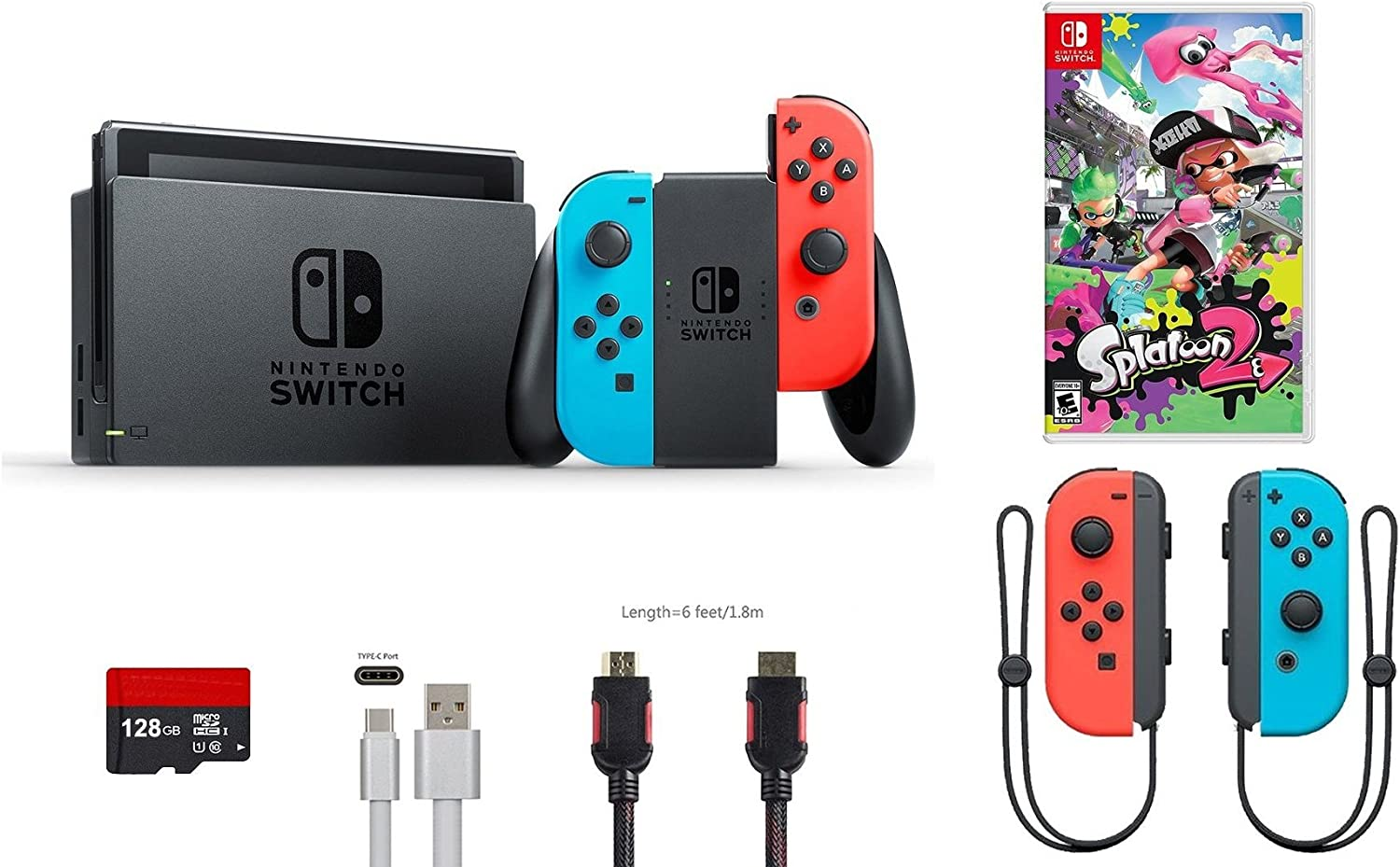 Nintendo Switch Pack (7 Piezas): 32 GB Consola Neon Rojo Azul Joy-con, Game Disc Splatoon 2, Extra Par de Joy-con Rojo y Azul, 128 GB Micro SD Card, Tipo C Cable, HDMI
