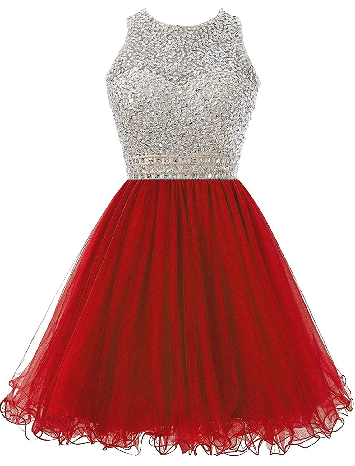 Dannifore Beaded Homecoming Dresses for Juniors Sequins Tulle Short Prom Dress