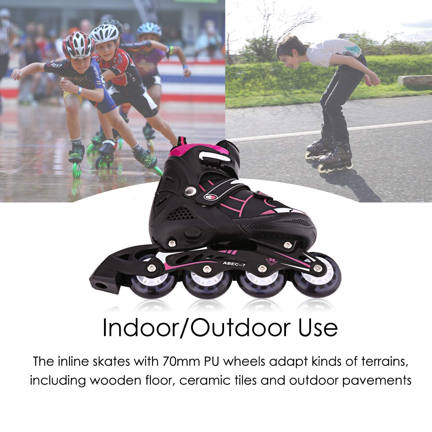 Safe and Durable for Boys and Girls Aceshin Inline Skates Kids Black Rollerblades Adjustable Illuminating Wheels
