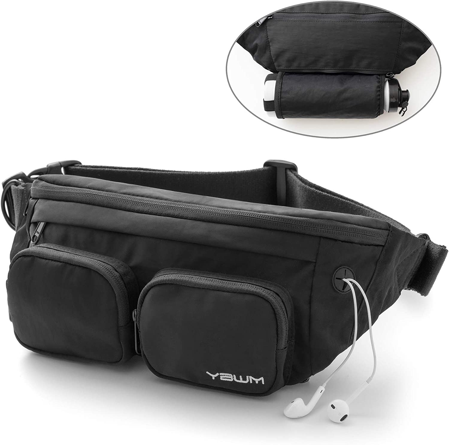 YBWM Multipurpose Waist Bag for Women Mens Fanny Packs Hip Bum Bag Expandable Waterproof Waist Pack with Water Bottle Holder for Casual Running Hiking Camping Cycling Dog Walking