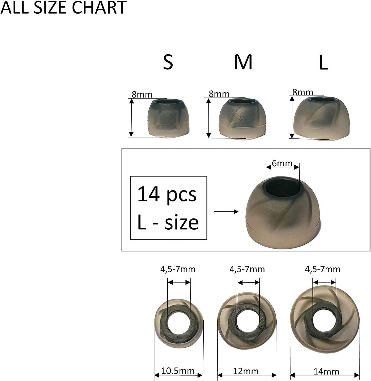 , Tornado Negro TCM Tornado Almohadillas Auriculares Silicona 7 Pares 14 pcs Medio M Almohadillas de Silicona para Inear Auriculares Reduce el Ruido /& Mejora Sonido