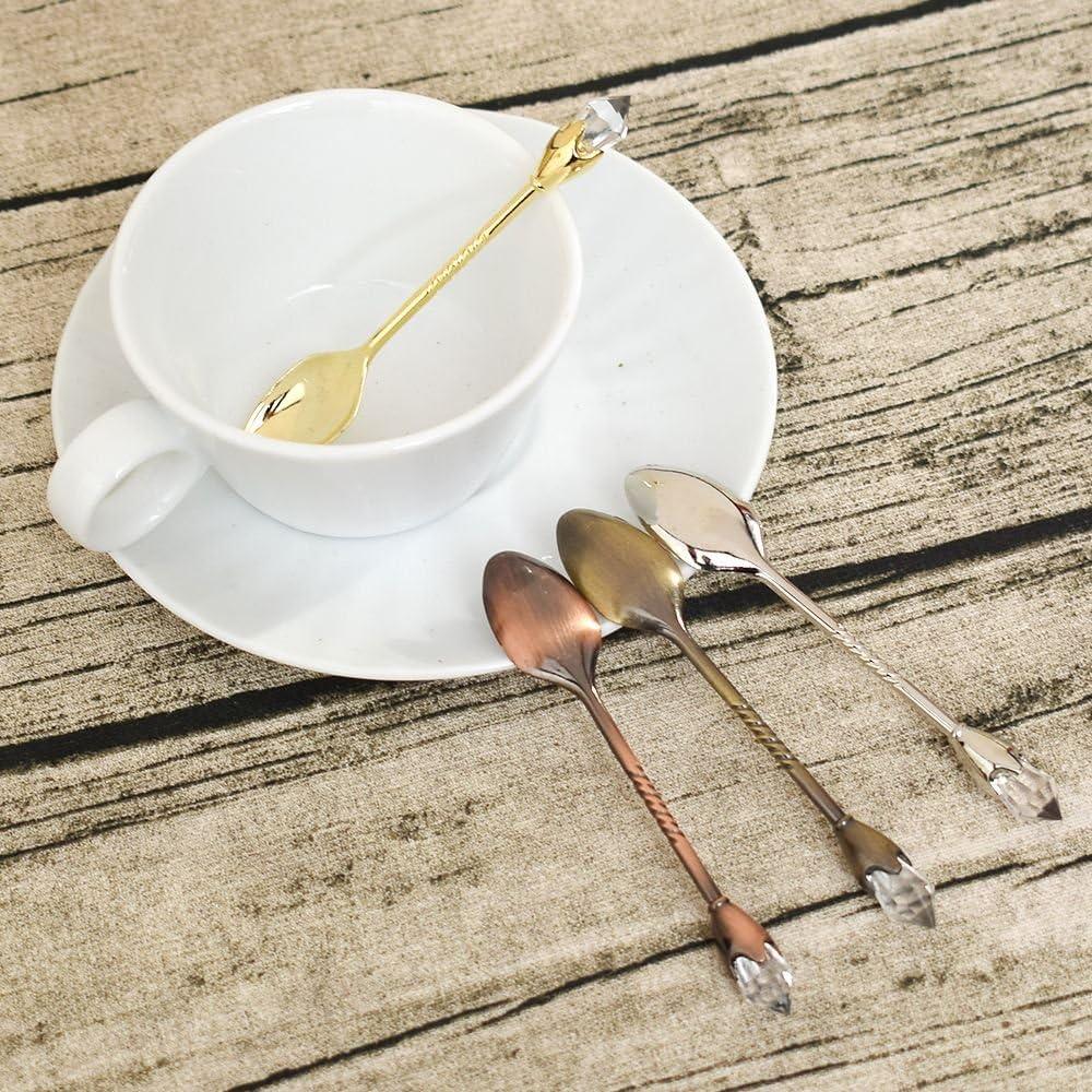 GOOTRADES Set of 4 Mini Spoons Coffee Espresso Scoops Vintage Tea Spoon 4.3 Long,Bronze