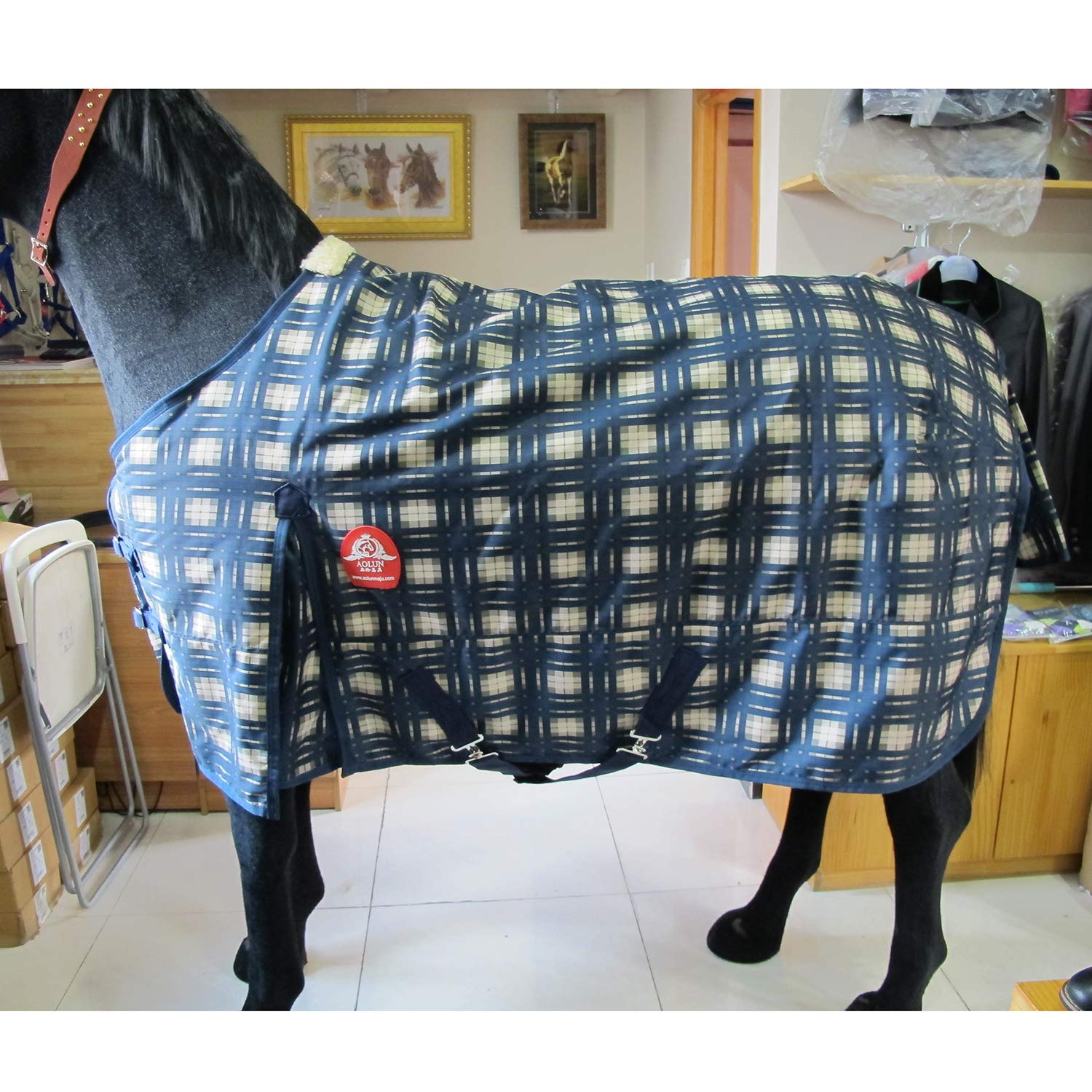 Winter Horse Blanket 1200D Waterproof Breathable 300G Thick Cotton, Equestrian Supplies,135cm