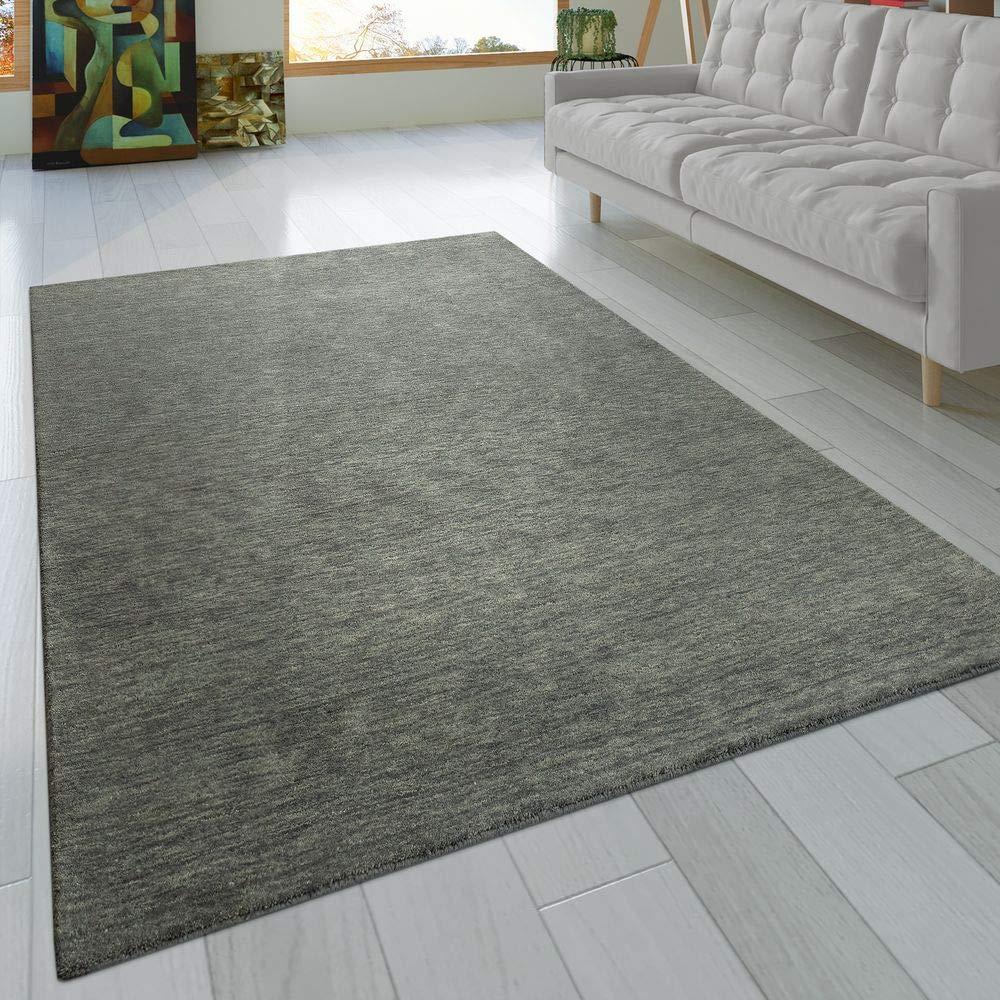 Paco Home Teppich Handgeknotet Gabbeh Hochwertig 100% Wolle Dezent Meliert In Uni Grau, Grösse 200x300 cm