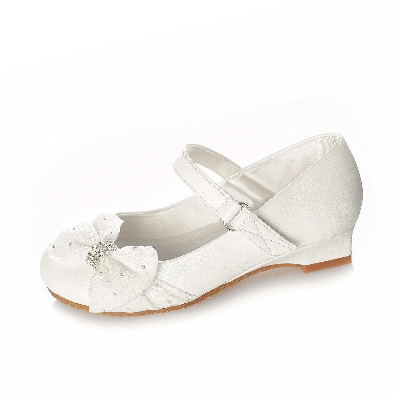 DressForLess Girls Sparkle Fabric Bow Shoe