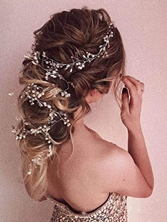 Bridal Headpiece Bridal Hair Piece Bridal Headdress Large Decorative Hair Comb Low Bun Hair Vine Back Headpiece Over Bun Hair Comb Flower