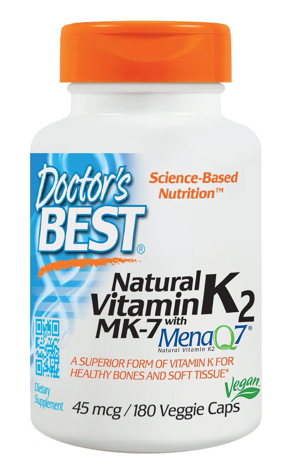 Doctor's Best Natural Vitamin K2 MK-7 with MenaQ7, Non-GMO, Vegan, Gluten Free, Soy Free, 45 mcg, 180 Veggie Caps