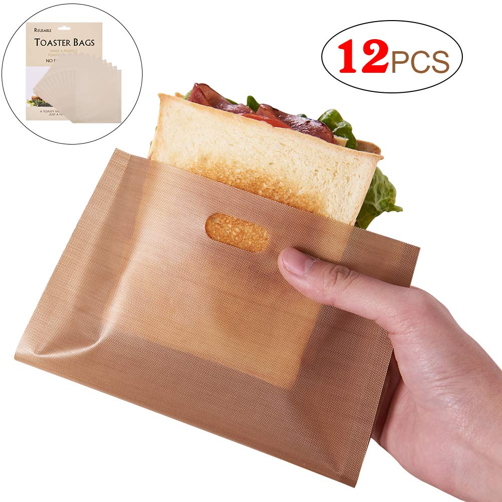 CCCSEE Non Stick Reusable Toaster Bags, FDA Approved, Safest, Gluten Free, Heat Resistant, Perfect for Grilled Cheese Sandwiches Panini & Garlic Toast (12)