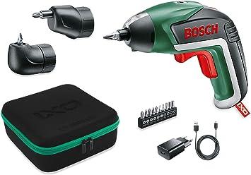 Oferta amazon: Bosch IXO Set - Atornillador a batería (Accesorios angular y excéntrico, 10 puntas para atornillar, cargador USB, estuche metálico, 3.6V, 1.5Ah)