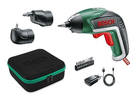 Bosch IXO Set - Atornillador a batería (Accesorios angular y excéntrico, 10 puntas para atornillar, cargador USB, estuche metálico, 3.6 V, 1.5 Ah)