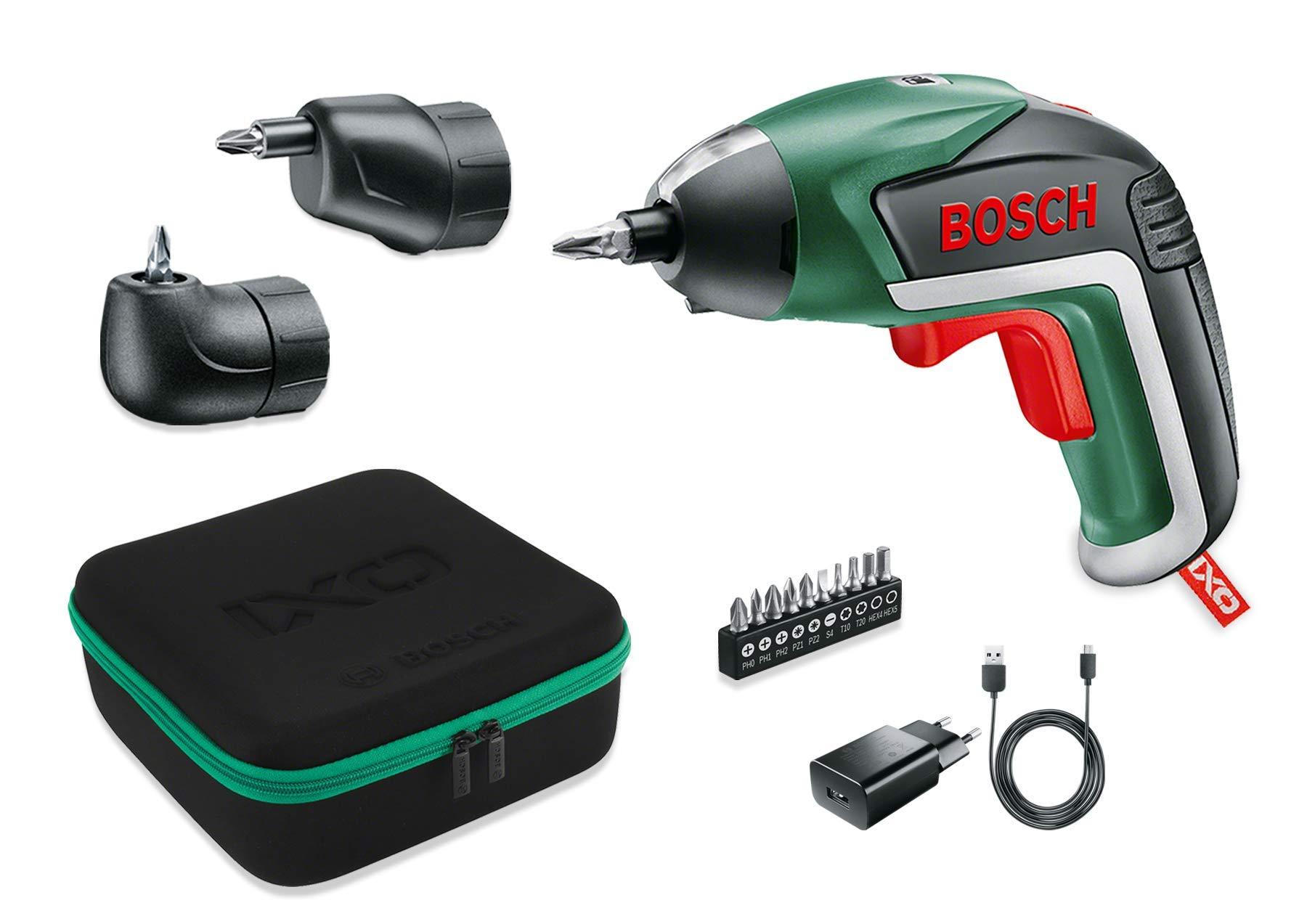 Bosch - Set da cacciavite a Batteria IXO (Testa ad Angolo, Testa Eccentrica, 10 cacciaviti, caricatore USB, scatola schiuma, 3,6 V, 1,5 Ah), Nero/Verde product image