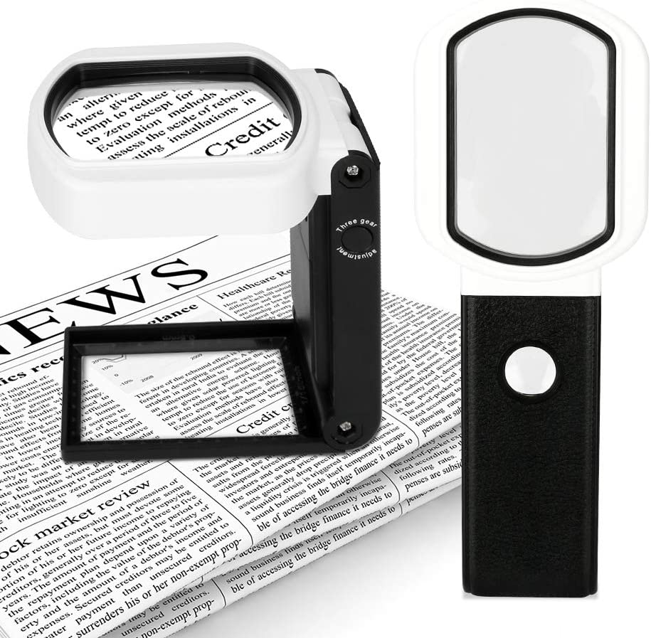 Magnifying Glass with Light and Stand, welltop 25X 10X Handheld Lighted Magnifying Glass Hands Free 9 LED Illuminated Magnifier for Reading, Inspection, Exploring, Jewellery, Hobbies & Crafts