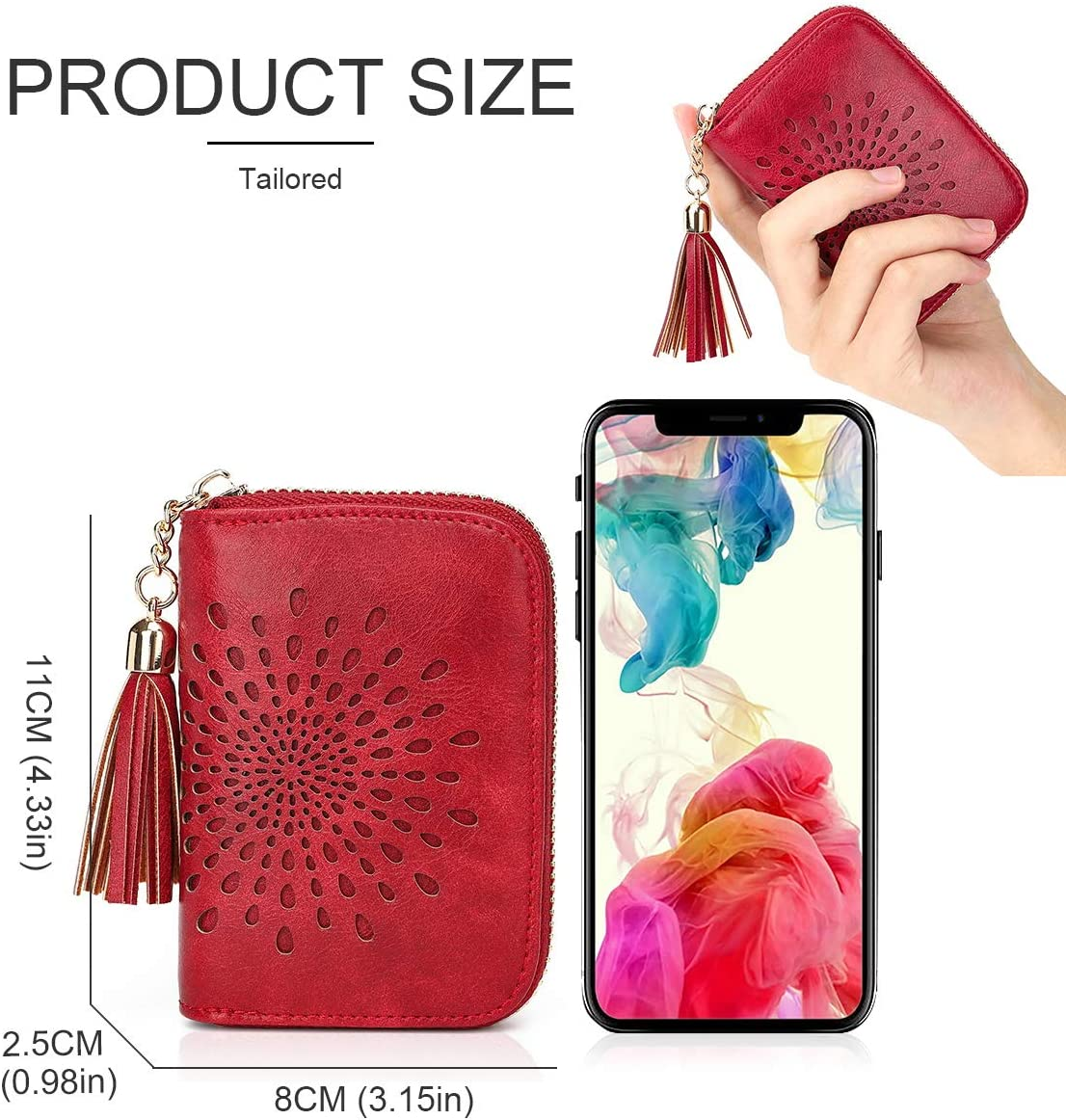 Credit Card Holder for Women RFID Blocking Girls Small Wallet Accordion Sunflower Hollow with Tassels 1927COFFEE
