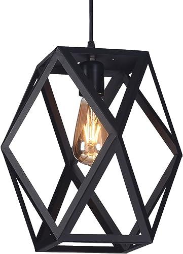 Wideskall 1-Bulb Industrial Geometric Mini Pendant Lighting Fixture, 12-inch Shade, Matte Black Finish