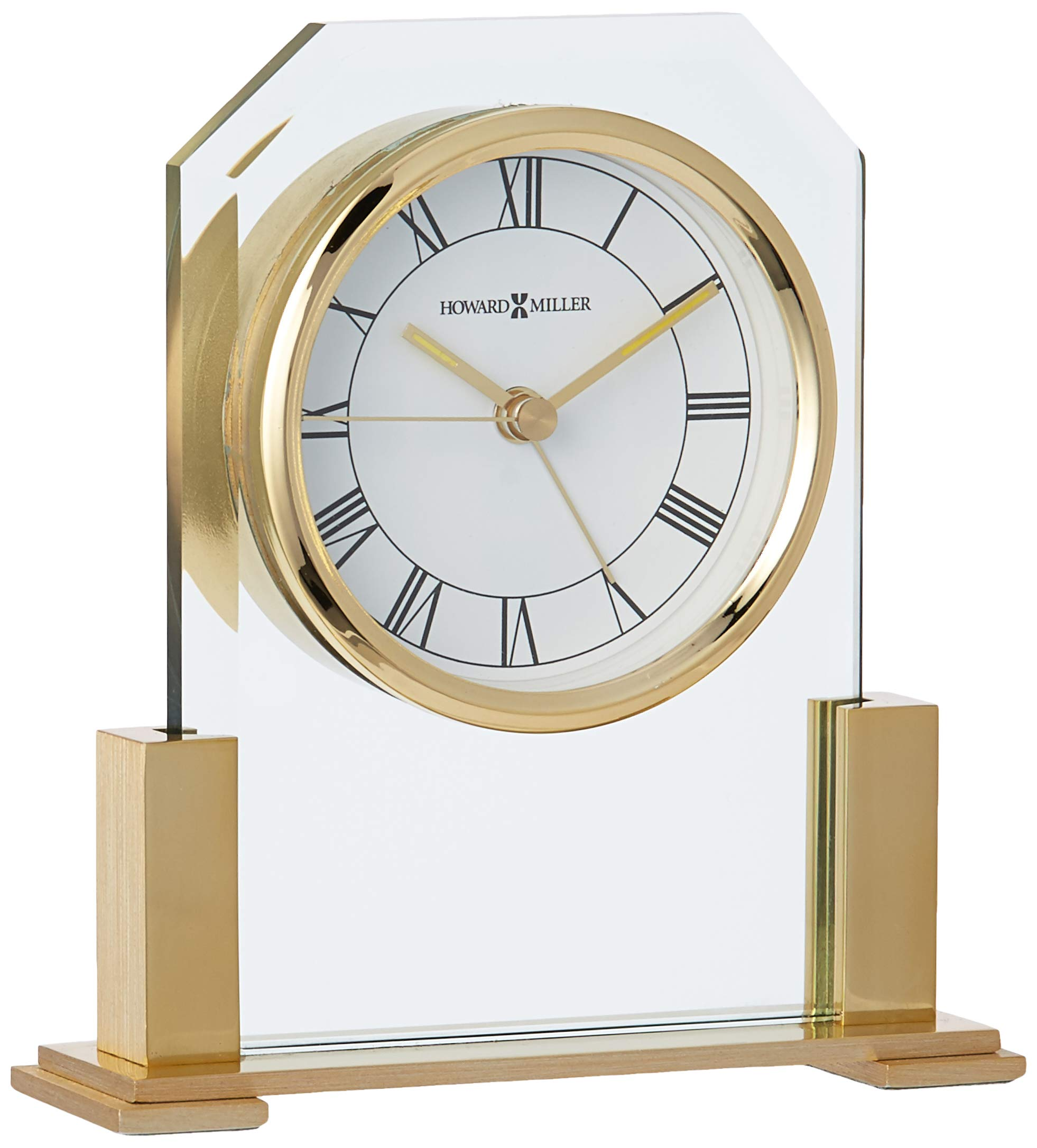Howard Miller Paramount Table Clock 613-573 – Brass Finished with Quartz Alarm Movement - TABLE CLOCK: The Paramount Clock is finished in polished brass and made with beveled glass to compliment your home decor. The clock's quartz movement makes a soft ticking noise without the use of chimes for a quieter environment. DURABLE: This indoor alarm clock is created to last. It has a sturdy frame to relieve stress in a busy household. Place it in your kitchen, office, bathroom, bedroom, living room, and more. HIGH QUALITY: The enduring design shows traditional black Roman numerals, with IIII instead of IV. Easily tell time with luminous insets on the hour and minute hands, and glass crystal to stand out over the white dial. - clocks, bedroom-decor, bedroom - 71LWEfUu61L -