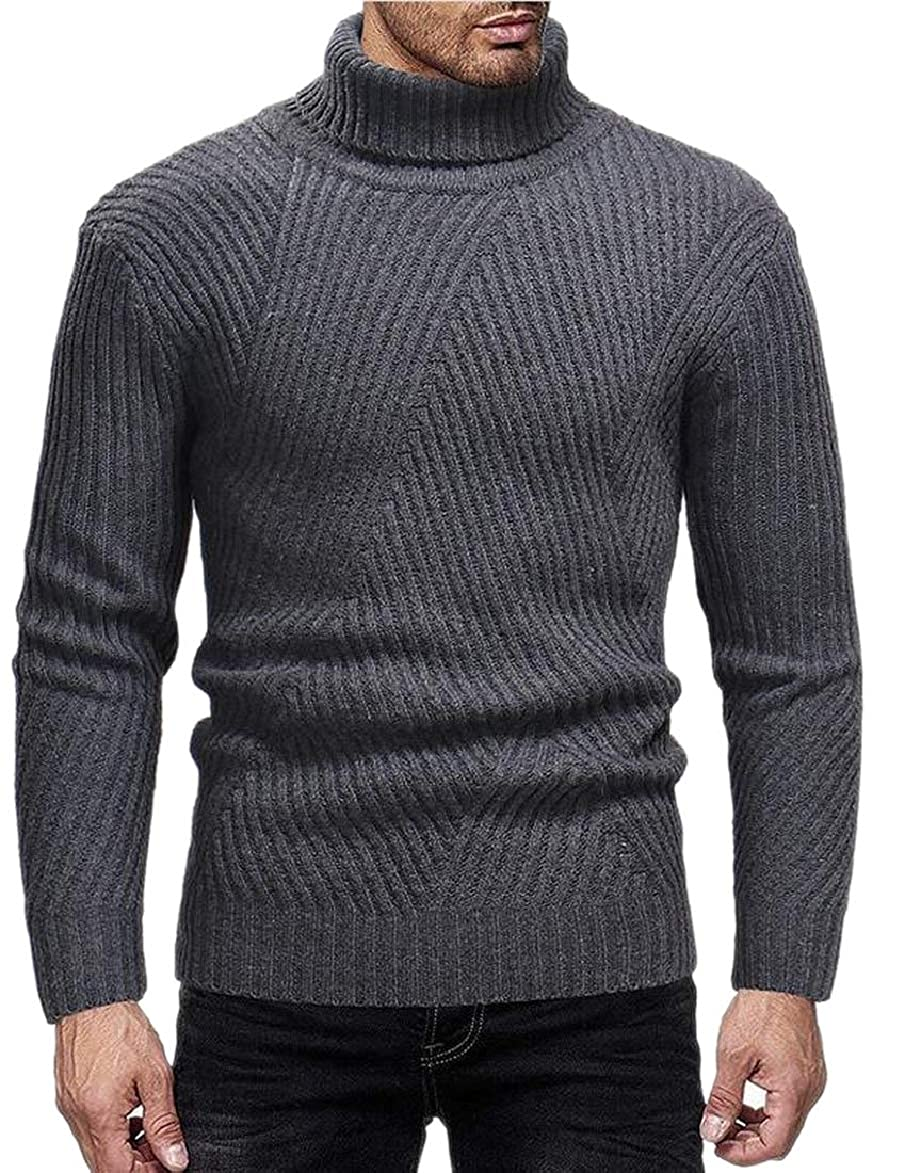 RRINSINS Mens Turtleneck Slim Fit Pullover Wool Blend Knit Thermal Stretch Sweaters