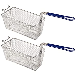 "WeChef 13 1/4"" x 6 1/2"" x 6"" Deep Fryer Basket with Non-slip Handle Commercial Restaurant Kitchen Chip Fish(pack of 2)"