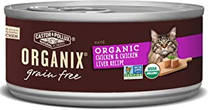 Castor & Pollux Organix Grain Free Organic Chicken & Chicken Liver Recipe All Life Stages Canned Cat Food (24) 3oz cans