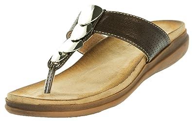 5699af4e8c2c Beppi Damen Sandalen Sommer   Zehentrenner mit Komfortsohle Bequem    Freizeitschuhe Modeschuhe Badeschuhe Modisch   Braun