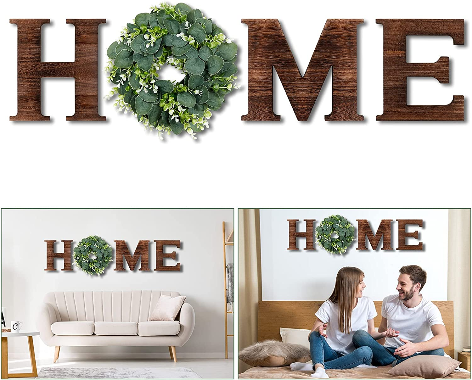 AerWo Wooden Home Sign Rustic Wall Decor with Artificial Eucalyptus Wreath, Upgarded 9.8'' Home Letters Farmhouse Wall Hanging Decor for Living Room Entry Way Kitchen Housewarming Gift