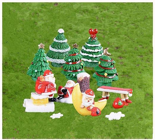 Adornos de jardín en miniatura, 14 piezas mini adornos para el jardín hadas de Navidad, figuras de bricolaje Hadas Jardín Casa de Muñecas Bonsai Decoración Suculenta Del Hogar Navidad Árbol Resina: Amazon.es: